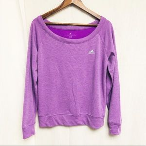 Adidas Climate Purple Boat Neck Sweater
